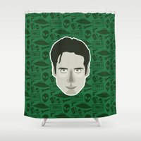 mulder Shower Curtains featuring Fox Mulder by Kuki