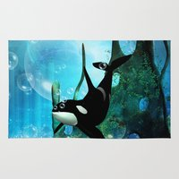 orca Area & Throw Rugs featuring Orca by nicky2342