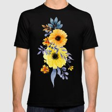 FLOWERS WATERCOLOR 10 Black MEDIUM Mens Fitted Tee
