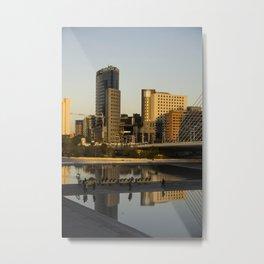 Valencia cityscape in gold Metal Print