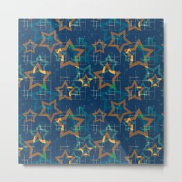 Star . Gold stars on a blue background . Metal Print