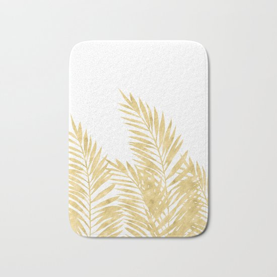 Palm Leaves Golden Bath Mat