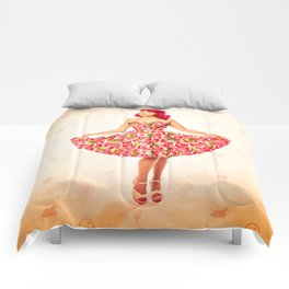 """Check Out These Melons"" - The Playful Pinup - Girl in Watermelon Dress by Maxwell H. Johnson Comforters"