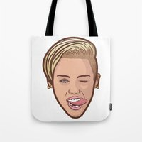 miley cyrus Tote Bags featuring Miley Cyrus by Michael Walchalk