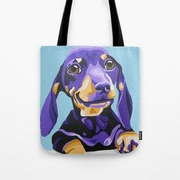 Dachshund Portrait in Blue Tote Bag