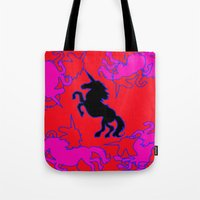 unicorns Tote Bags featuring Unicorns by Emily Wagner Studio