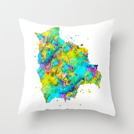 Bolivia Map Throw Pillow