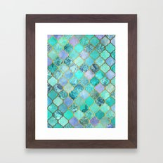 Cool Jade & Icy Mint Decorative Moroccan Tile Pattern Framed Art Print