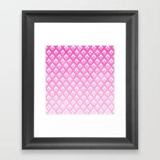 Modern pink watercolor ombre triangles chevron geometric pattern Framed Art Print