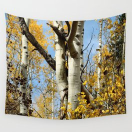 Aspens Tall and Gold Wall Tapestry
