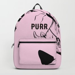 Blush Pink - Rose Gold - Purr Evil - Hairless Sphynx Cat Skull Drawing - Funny Animal Quote - Line Drawing Wrinkly Kitty - Backpack