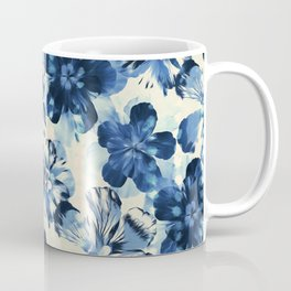 Shibori Inspired Oversized Indigo Floral Coffee Mug