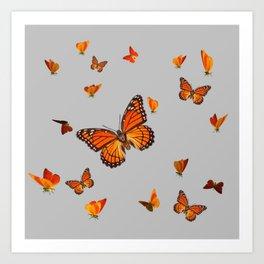 FLOCK OF ORANGE MONARCH BUTTERFLIES ART Art Print