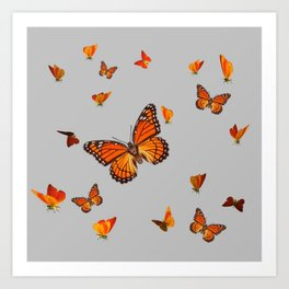 FLOCK OF ORANGE MONARCH BUTTERFLIES ART Art Print