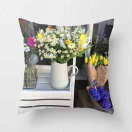 At the florists Throw Pillow