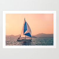 racing Art Prints featuring  Yacht racing by Svetlana Korneliuk