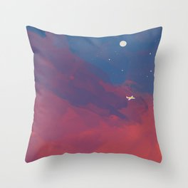A Lone Flight Amongst The Pastel Unknown. Throw Pillow