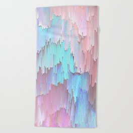 Pastel Glitches Fall Beach Towel
