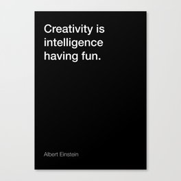 Einstein quote about creativity [Black Edition] Canvas Print