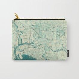 Melbourne Map Blue Vintage Carry-All Pouch