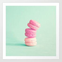 Three soft pink macaroons Art Print