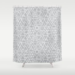 Gray and White Geometric Triangle Pattern Shower Curtain