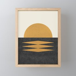 Sunset Geometric Framed Mini Art Print