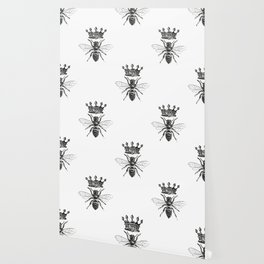 Queen Bee | Vintage Bee with Crown | Black and White | Wallpaper