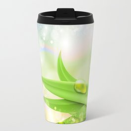 pastel colors with green grass and dew Travel Mug