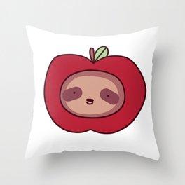 Apple Sloth Face Throw Pillow