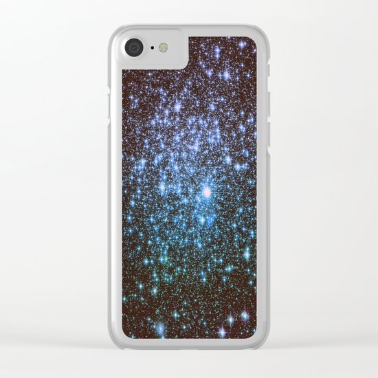 Winter Blues Galaxy Stars Clear iPhone Case