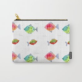 Whimsical fishes watercolor pattern Carry-All Pouch