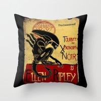 xenomorph Throw Pillows featuring Le tournée du xenomorph noir by Legendary Phoenix