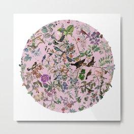 Bird menagerie mauve Metal Print