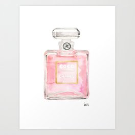 perfume bottle art watercolor print home, fashion, office, wall, dorm decor Art Print