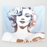 marilyn Wall Tapestries featuring Marilyn by Susana Miranda ilustración