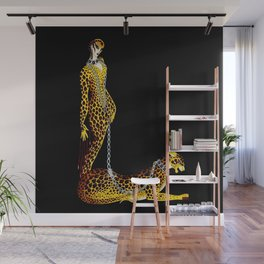 """""""Lady and the Leopard"""" Art Deco Design Wall Mural"""