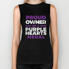 Proud Owner Purple Hearts Medal Armed Forces  Biker Tank