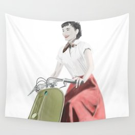 Audrey ride on Vespa Wall Tapestry