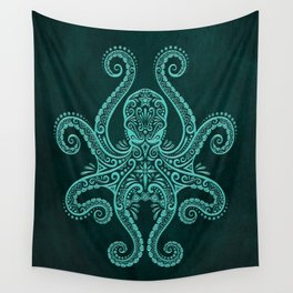 Intricate Teal Blue Octopus Wall Tapestry