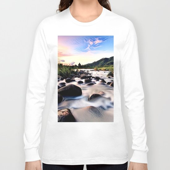 Gorgeous Epic River in Landscape with Sunset Long Sleeve T-shirt