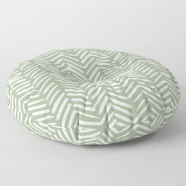 Boho, Abstract, Herringbone Pattern, Sage Green and White Floor Pillow
