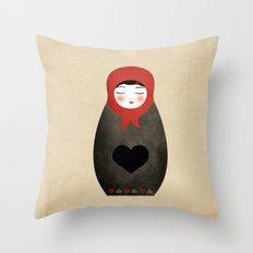 Matryoshka paperdoll Heart Throw Pillow