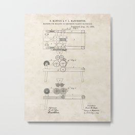 Machine for Molding or Embossing Plastic Materials Vintage Patent Hand Drawing Metal Print