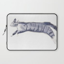 """""""Jump"""" whimsical cat watercolor painting Laptop Sleeve"""
