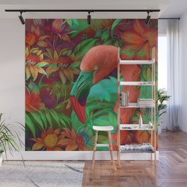 """Tropical Floral Retro Flamenco"" Wall Mural"