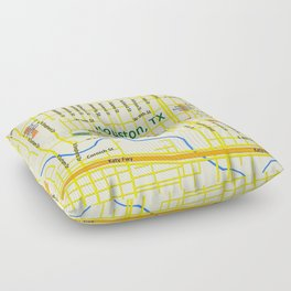 Map of Houston TX #1 Floor Pillow