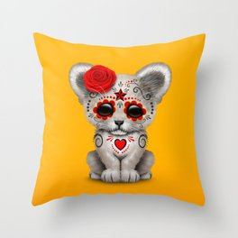 Red and Yellow Day of the Dead Sugar Skull White Lion Cub Throw Pillow