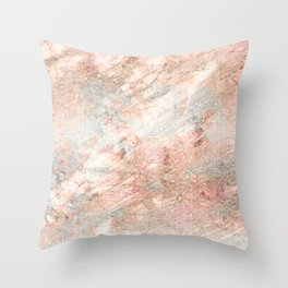 Silver Rose Gold Fusion Throw Pillow