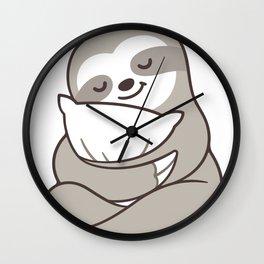 Cute sleepy sloth hugging pillow Wall Clock